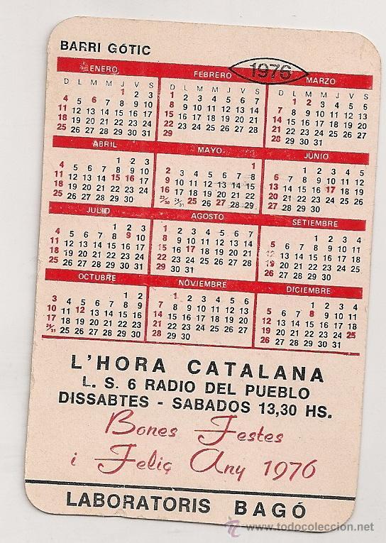 Calendario 1976 Argentina.L Hora Catalana L S 6 Radio Del Pueblo Buenos Aires Argentina 1976 9x6 Cm