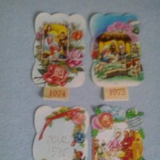 Coleccionismo Calendarios: MINI CALENDARIO CON FALDILLA DE NAVIDAD CON PURPURINA.NACIMIENTO BELEN.1974-75-76-77.. Lote 44891439
