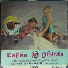 Coleccionismo Calendarios: CALENDARIO PARED CAFÉS LA ESTRELLA, 1963. Lote 45253199