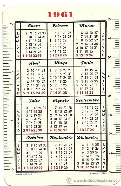 Calendario Del 1961.Ca 185e Calendario H Fournier Ano 1961 Catolic Sold At