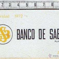 Coleccionismo Calendarios: CALENDARIO BANCO DE SABADELL 1972 METALICO EN ALUMINIO.. Lote 45952508