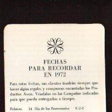 Coleccionismo Calendarios: CALENDARIO DE 1972 PUBLICIDAD AVON MIDE MAS DE 15 CM ESCASISIMO , MAS EN MI TIENDA EL RINCON DE JJ. Lote 46366320