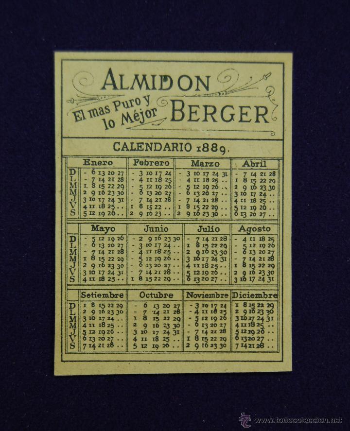 Coleccionismo Calendarios: ANTIGUO CALENDARIO DE 1889. ALMIDON BERGER. 7,5 x 5,5 CM. EN PERFECTO ESTADO DE CONSERVACION. - Foto 2 - 46376785