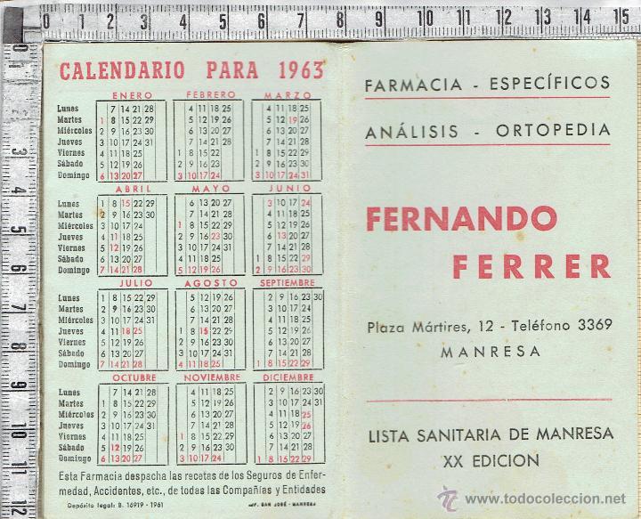CALENDARIO Y LISTA SANITARIA DE MANRESA XX EDICION- FARMACIA FERNANDO FERRER-MANRESA-1963 (Coleccionismo - Calendarios)