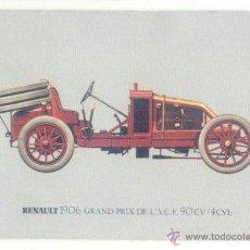 Coleccionismo Calendarios: CALENDARIO 1985 RENAULT 1906 GRAND PRIX. COCHE ANTIGUO. PUBLICIDAD TALLERS GAIA. TARRAGONA.. Lote 47579273