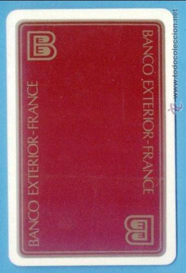 TARJETA BANCO EXTERIOR FRANCE. FRANCIA. TARJETA TAMAÑO CALENDARIO BOLSILLO. PARTE POSTERIOR BLANCA. (Coleccionismo - Calendarios)