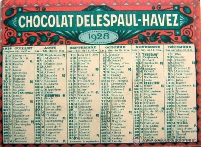 Coleccionismo Calendarios: 1928 -ANUNCIO DE CHOCOLATE - Foto 2 - 47899845