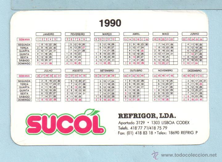 1990 Calendario.Calendario Extranjero Con Publicidad De Sumos Sucol Del Ano 1990