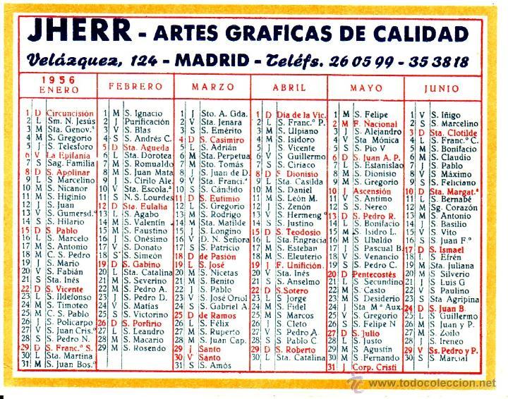 Calendario Santoral.Calendario De Bolsillo 1956 Con Santoral De Jhe Sold