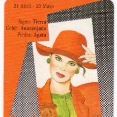 Coleccionismo Calendarios: CALENDARIO DE BOLSILLO DE HORÓSCOPO - TAURO - SERIE BO Nº 5407 - AÑO 1990. Lote 191416748