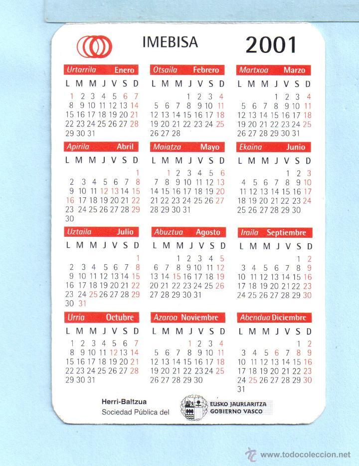 Calendario 2001.Calendario De Publicidad Del Ano 2001 De Ibmebisa En Vasco