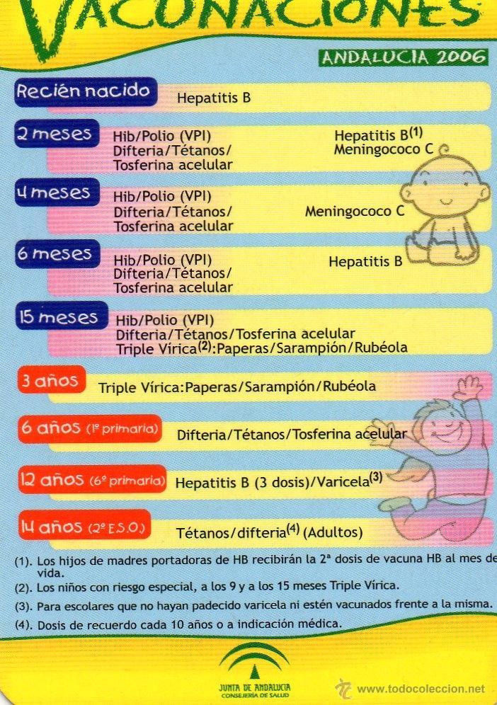 Calendario Vacunal Andalucia 2019.Calendario Vacunas Junta Andalucia Ano 2006 Vendido En Venta