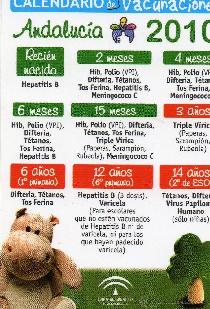 Calendario Vacunal Andalucia.Calendario Vacunas Junta Andalucia Ano 2010 Vendido En Venta