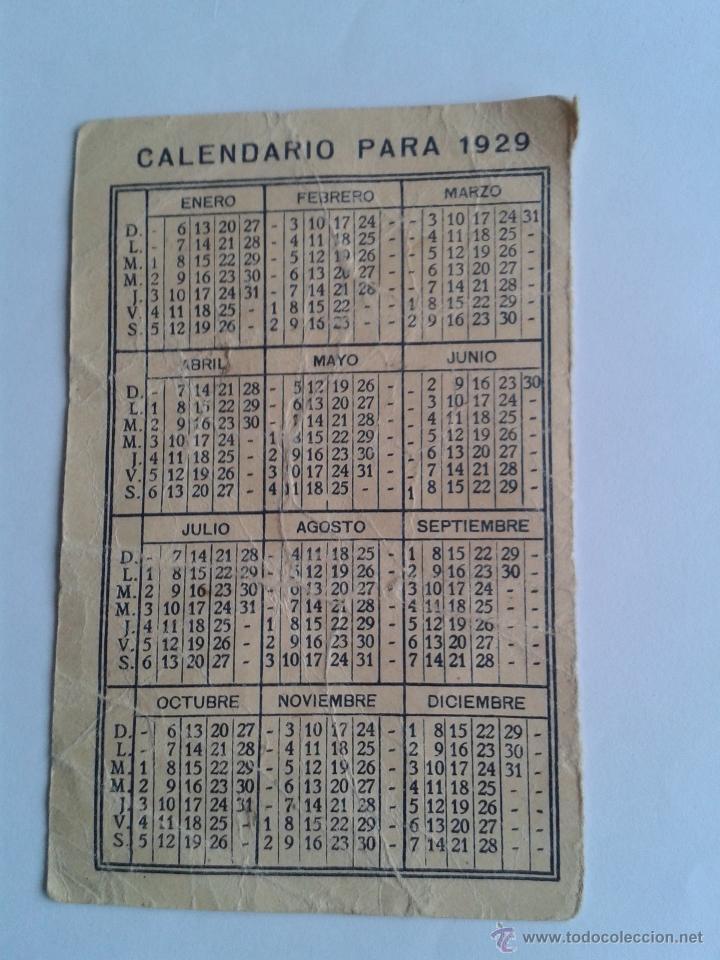 Calendario 1929.Calendario De 1929 Con Publicidad Al Reverso El Sold