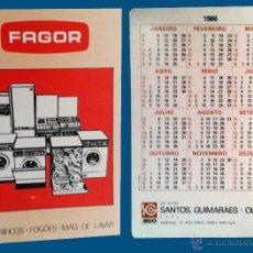 Coleccionismo Calendarios: CALENDARIO BOLSILLO, SERIE PUBLICIDAD, PUBLICADO PORTUGAL, AÑO 1986 - FAGOR. Lote 49541470