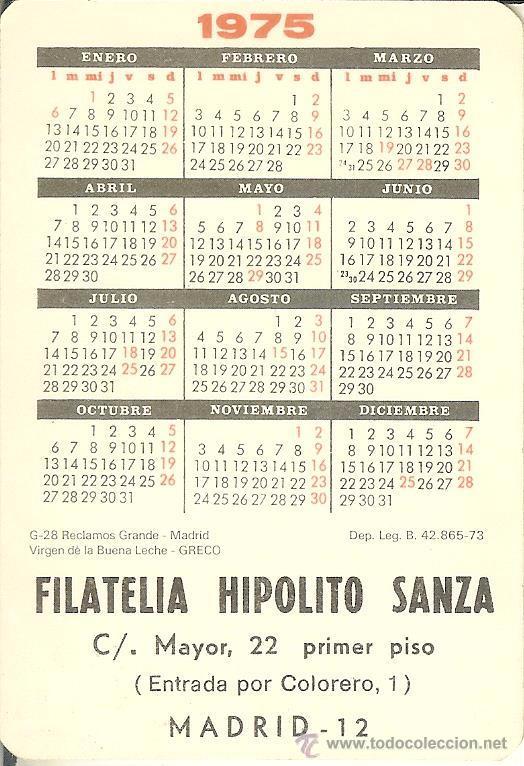 Calendario Greco.Calendario De Serie 1975 D L B 42 865 G 28 Greco Filatelia Hipolito Sanza