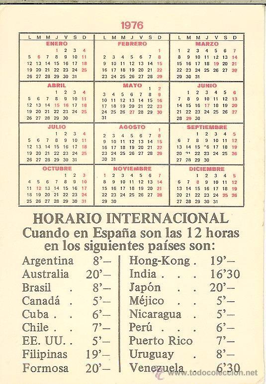 Calendario 1976 Argentina.Calendario De Bolsillo 1976
