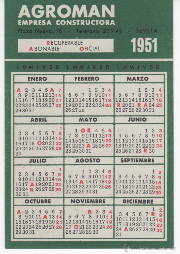 Calendario 1951.Calendario Publicidad De Agroman Ano 1951 Y 19 Sold
