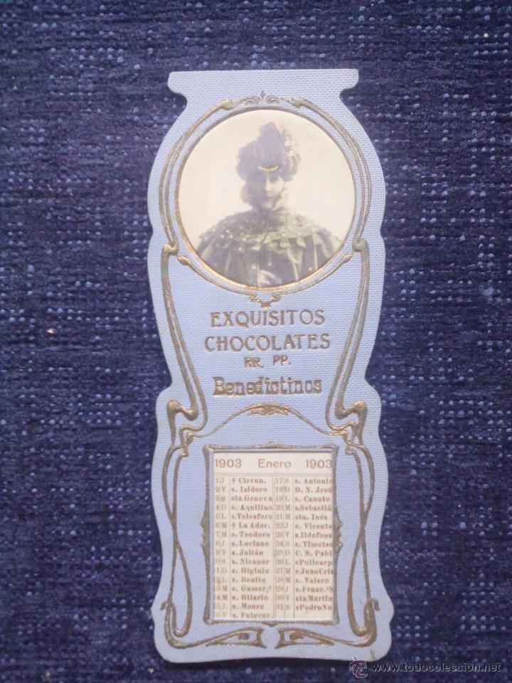 CALENDARIO EXQUISITOS CHOCOLATES RR.PP. BENEDICTINOS / TROQUELADO / 1903 (Coleccionismo - Calendarios)