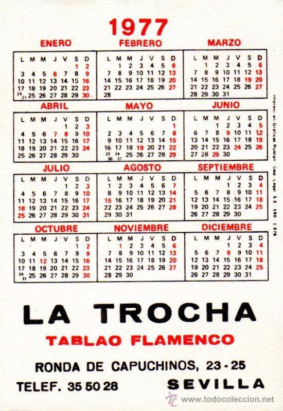 Calendario Del 1977.Calendario 1977 Tablao Flamenco La Trocha 70x98 Mm