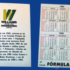 Coleccionismo Calendarios: AUTOMOVIL - WILLIAMS GRAND PRIX - CALENDARIO EDITADO EN PORTUGAL - 1985. Lote 51214144