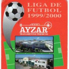 Coleccionismo Calendarios: CALENDARIO DE LIGA DE FUTBOL 1999 / 2000 - AYZAR - TODOS LOS PARTIDOS DE LA TEMPORADA - VER REVERSO. Lote 51381826