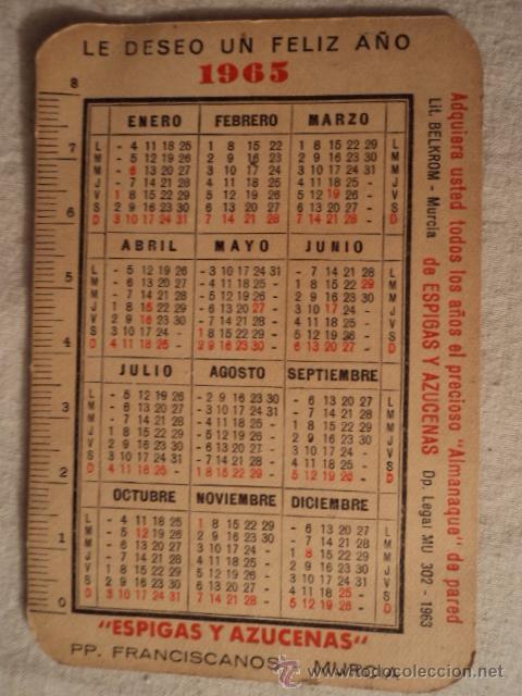 Calendario Del Ano 1965.Calendario Ano 1965
