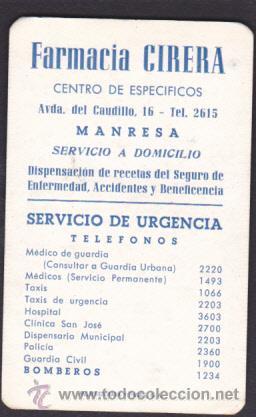 CALENDARIO BOLSILLO 1965 FARMACIA CIRERA MANRESA (Coleccionismo - Calendarios)