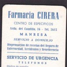 Coleccionismo Calendarios: CALENDARIO BOLSILLO 1965 FARMACIA CIRERA MANRESA . Lote 52842140
