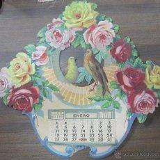 Coleccionismo Calendarios: CALENDARIO 1959. FLORES Y PAJAROS. TROQUELADO. 42 X 45 CM. Lote 53447727