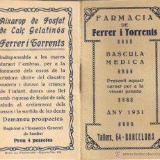 Coleccionismo Calendarios: CALENDARIO DE BOLSILLO FARMACIA FERRER I TORRENTS 1931. 5,2 X 10 CM. . Lote 53635327