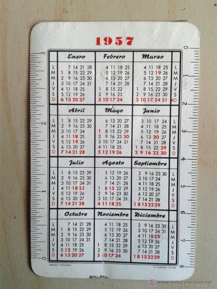 Calendario Del Ano 1957.Calendario Fournier Ano 1957 Waterman S Plumas