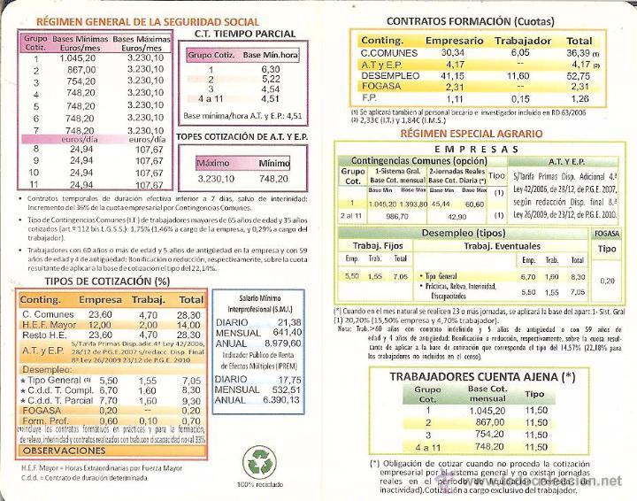 2011 Calendario.Calendario Publicitario Diptico 2011 Tesoreria General De La Seguridad Social