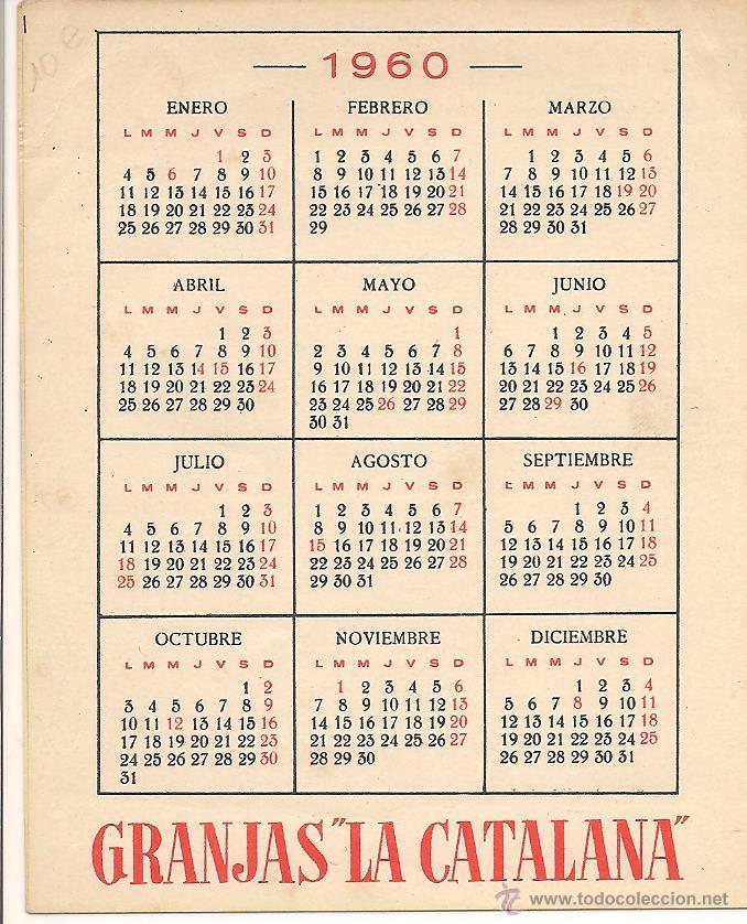 Calendario 1960.Folleto Publicitario De Granjas La Catalana Doble Pagina Calendario 1960