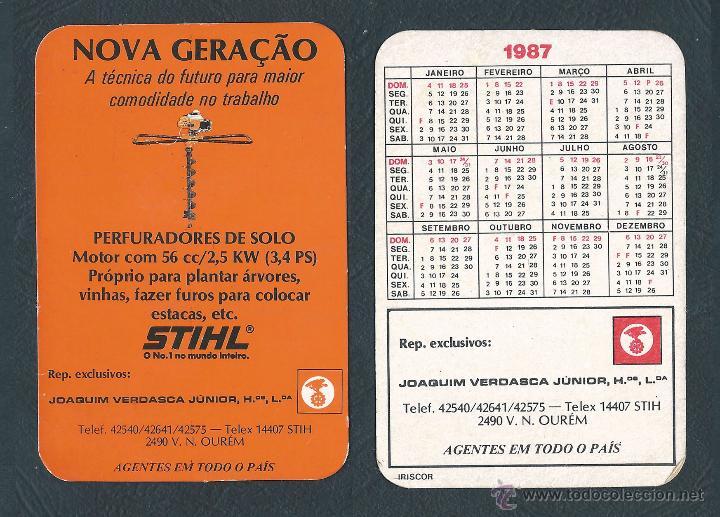 Calendario Stihl.Calendario Publicado Portugal Ano 1987 Stihl