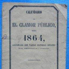 Coleccionismo Calendarios: CALENDARIO DE EL CLAMOR PÚBLICO PARA 1864. IMPRENTA DE EL CLAMOR, MADRID, 1864.. Lote 54690025