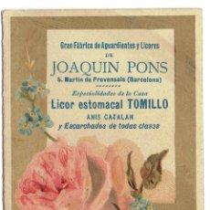 Coleccionismo Calendarios: PS6152 CALENDARIO 1891. AGUARDIENTES Y LICORES JOAQUÍN PONS. S. MARTÍ DE PROVENÇALS (BARCELONA). Lote 52652822