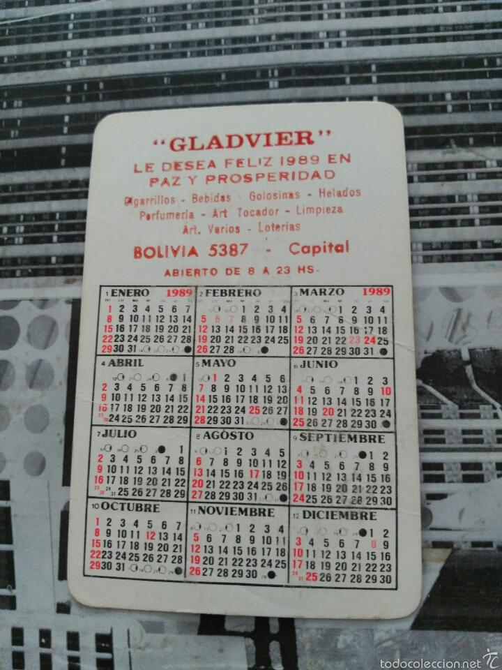 Calendario 2016 Argentina.Calendario De Bolsillo Dibujo 1989 Argentina Sold Through