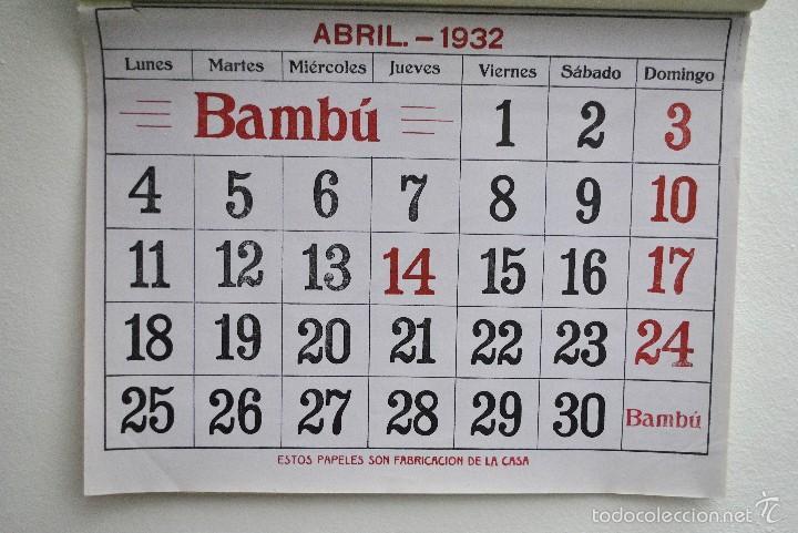Calendario 1932 Espana.Cartel Calendario Pared Publicidad Papel D Fuma Sold