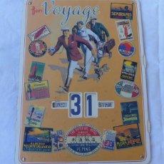 Coleccionismo Calendarios: CALENDARIO GRAN DIMENSIÓN MOBIL - FRANCIA BON BOYAGE PUBLICIDA DE VARIOS HOTELES ITALIA SUIZA EGIPTO. Lote 58109771