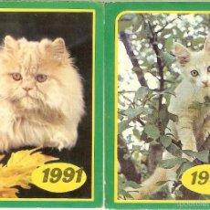 Coleccionismo Calendarios: 2 CALENDARIOS DE BOLSILLO DE RUSIA - 1991 - GATOS. Lote 58684424