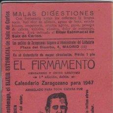 Coleccionismo Calendarios: EL FIRMAMENTO, CALENDARIO ZARAGOZANO PARA 1947. Lote 61474751