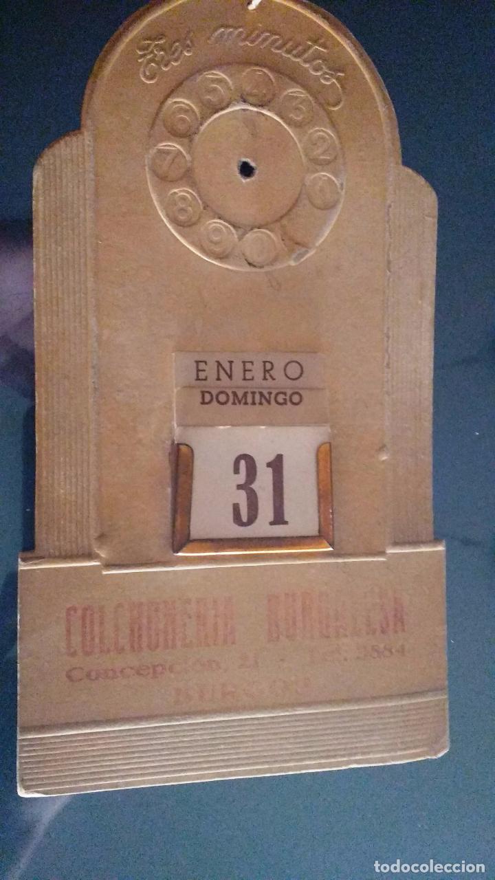 CALENDARIO PERPETUO MODERNISTA, PARED, BURGOS, TRES MINUTOS, COLCHONERIA BURGALESA, CONCEPCION 21, (Coleccionismo - Calendarios)