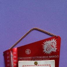 Coleccionismo Calendarios: CALENDARIO Y TERMOMETRO EN ALUMINIO COMPLETO SIN USO. PUBLICIDAD BANGO GIJON, AÑO 1964.. Lote 96788126