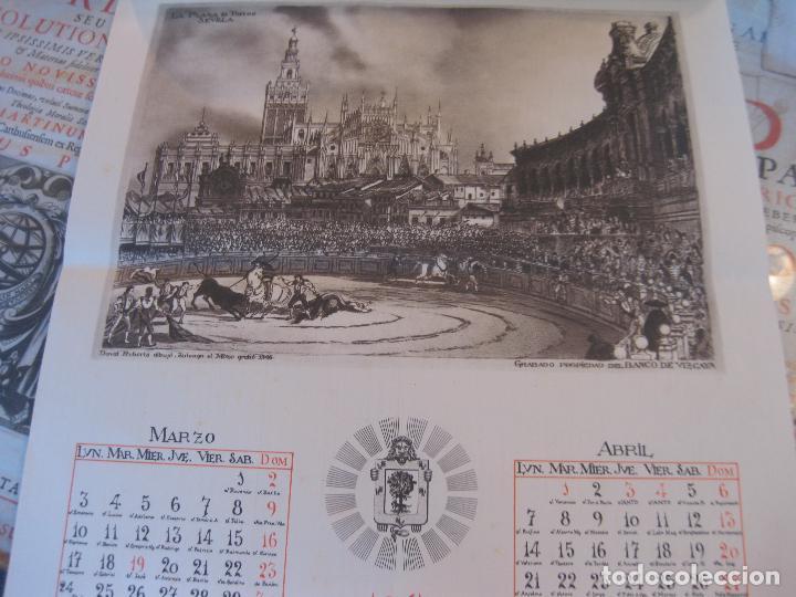 Coleccionismo Calendarios: Calendario Banco de Vizcaya 1947. Grabados de Madrid -2-, Sevilla, Vitoria, San Sebastián y Bilbao - Foto 2 - 68831893