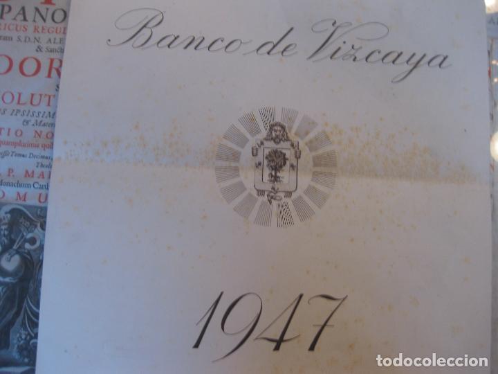 Coleccionismo Calendarios: Calendario Banco de Vizcaya 1947. Grabados de Madrid -2-, Sevilla, Vitoria, San Sebastián y Bilbao - Foto 7 - 68831893