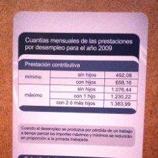 Coleccionismo Calendarios: CALENDARIO INSTITUTO NACIONAL EMPLEO 2009 INEM. Lote 71077361