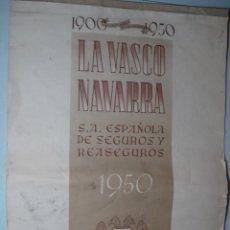 Coleccionismo Calendarios: CALENDARIO DE PARED LA VASCO NAVARRA CINCUENTENARIO DE LA FUNDACIÓN 1950 CON CIUDADES ESPAÑOLAS.. Lote 73704615