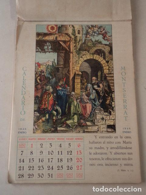 Coleccionismo Calendarios: CALENDARIO LITÚRGICO DE MONTSERRAT - AÑO 1946 - Foto 2 - 74579223