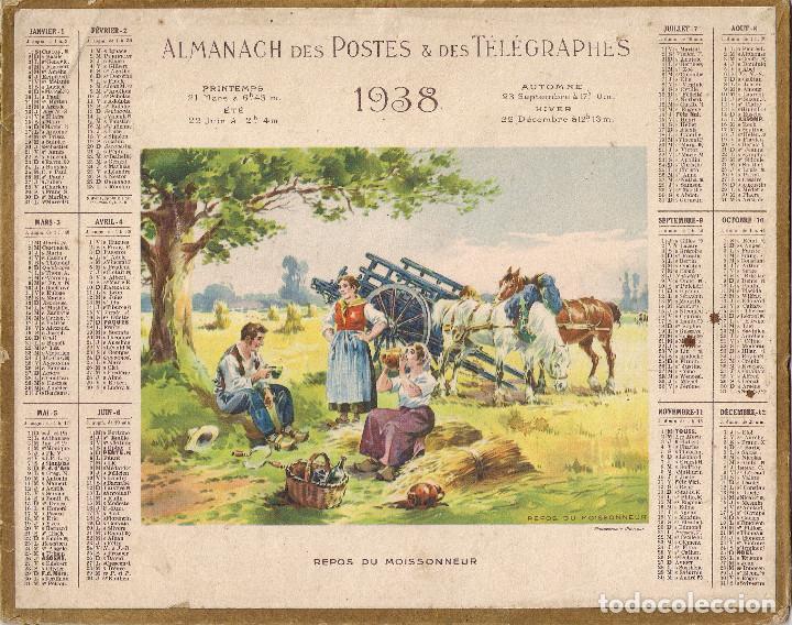 Calendario Repas.Calendario De Carton Para El Ano 1938 De Correos Y Telegrafos En Frances